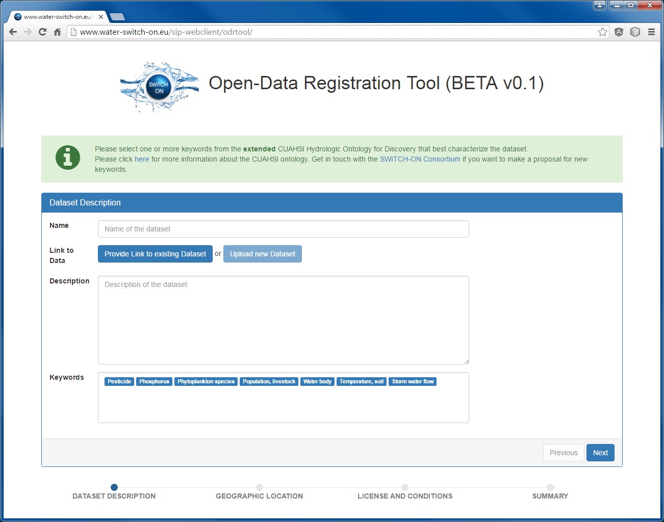 Open Data Registration Tool